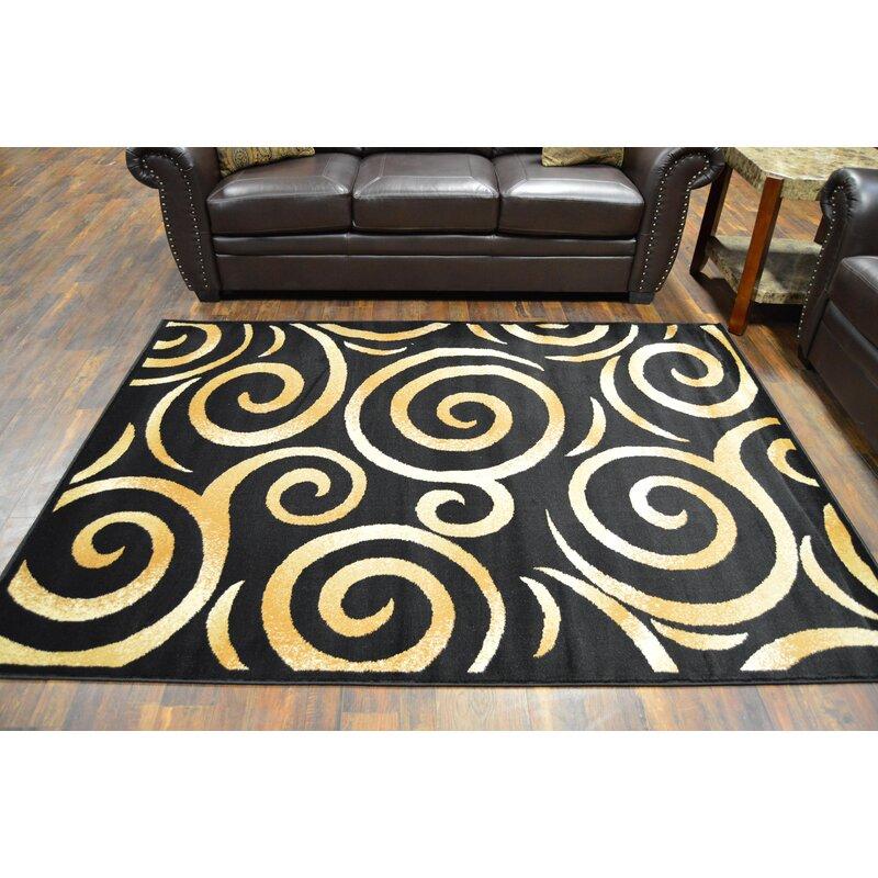 Ebern Designs Wargo Abstract Black Beige Area Rug Wayfair