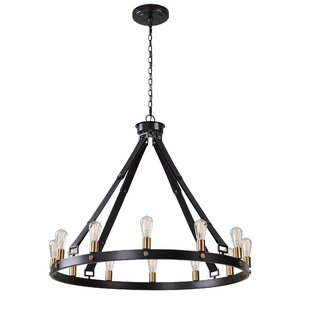 Trent Austin Design Clyde Circle 12-Light LED Wagon Wheel Chandelier