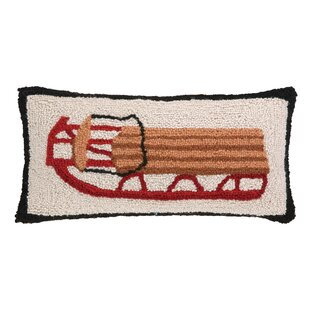 Castlewood Winter Sledding Hook Wool Throw Pillow