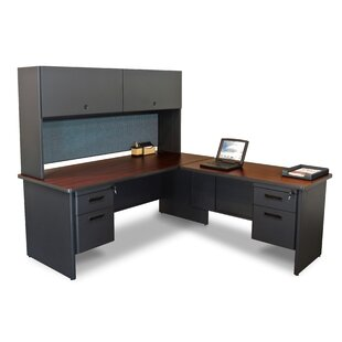 Crivello Return and Pedestal L-Shape Executive Desk with Hutch