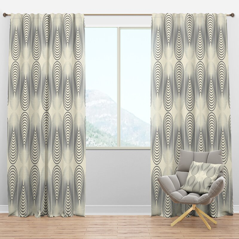 Designart Mid Century Monochrome X Geometric Semi Sheer Thermal Rod Pocket Single Curtain Panel Wayfair