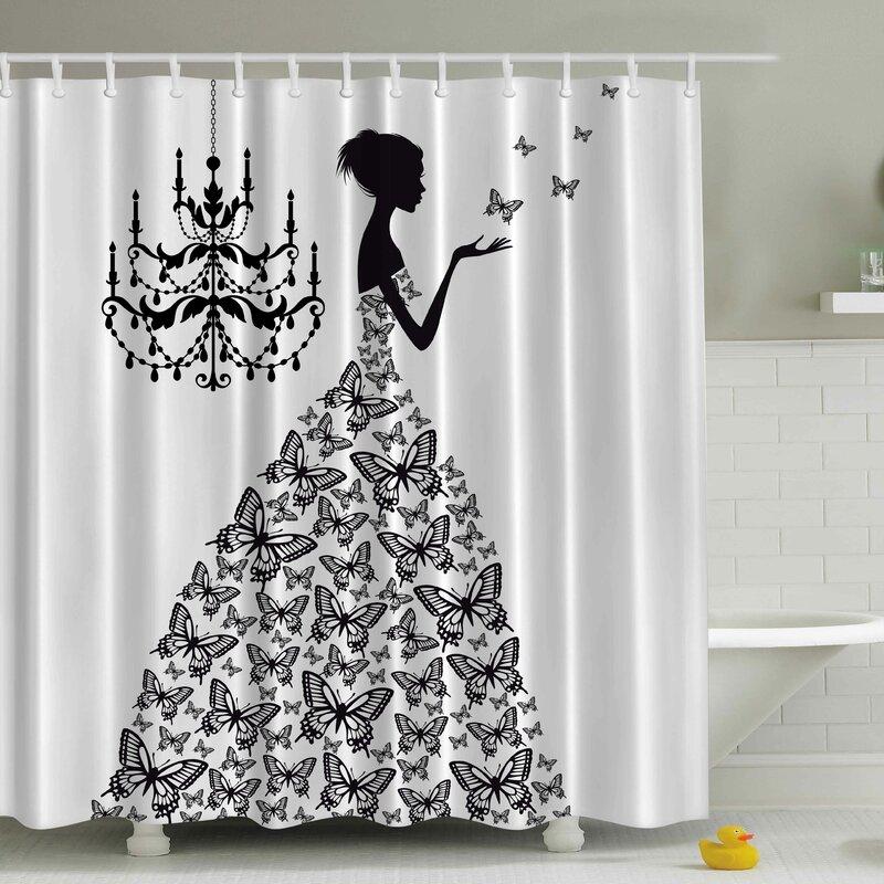 Black Shower Curtains viv + rae rowena madame butterfly print shower curtain & reviews