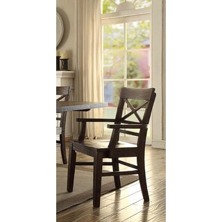 Anteus Cross back Arm chair in Chesnut (Set of 2) by Gracie Oaks SKU:AD270157 Information