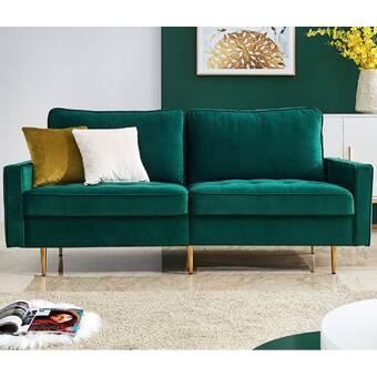 Everly Quinn Knudson Velvet 71 Square Arm Sofa Reviews Wayfair