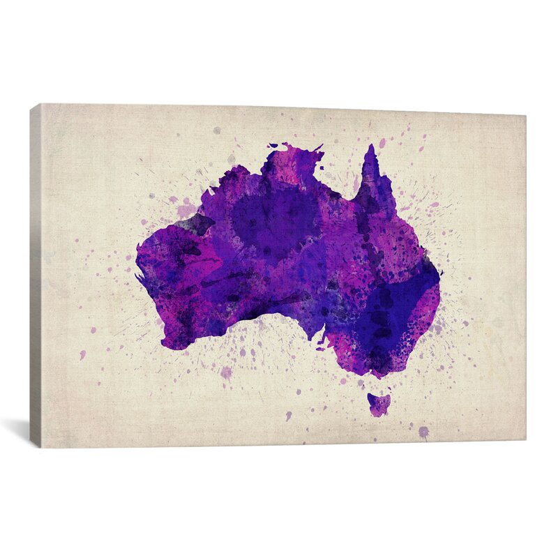 Map of Australia Paint Splashes by Michael Tompsett - Gallery Wrapped Canvas Giclée Watercolor Painting Print