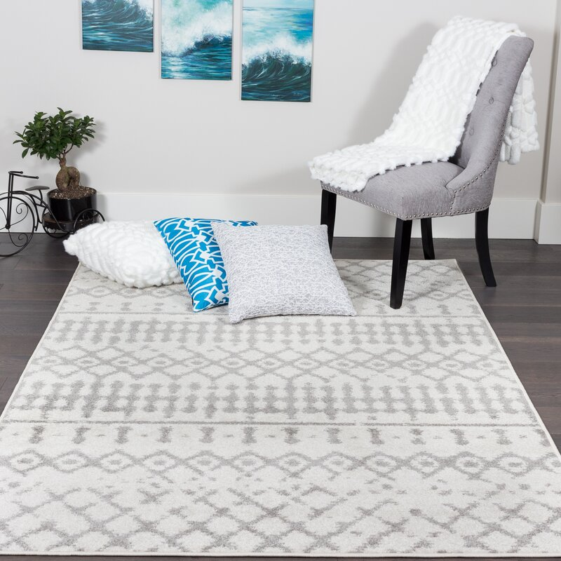 Bungalow Rose Baez Geometric Gray Area Rug Reviews Wayfair