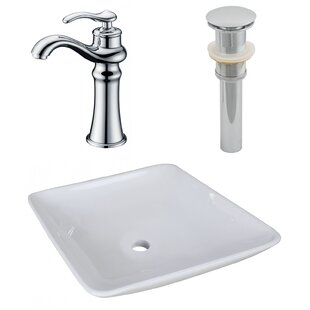 Ceramic Square Vessel Bathroom Sink with Faucet by Royal Purple Bath Kitchen
