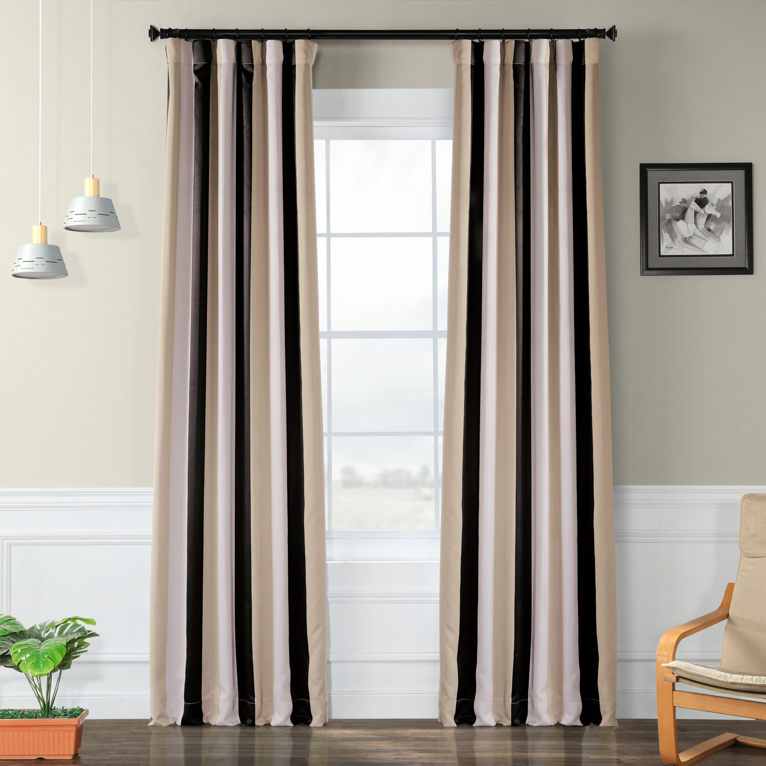 George Oliver Mcclung Striped Room Darkening Thermal Rod Pocket Single Curtain Panel Reviews Wayfair