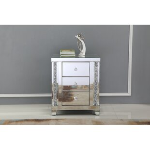 Ahmad Crystal 3 Drawer Nightstand by Rosdorf Park