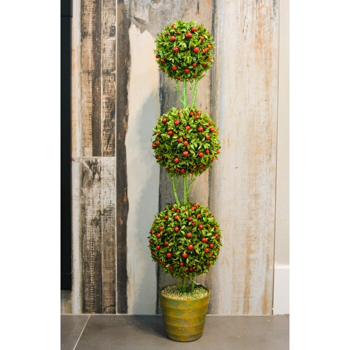 Christmas Topiary.Artificial Christmas Glitter 3 Ball Boxwood Topiary In Pot