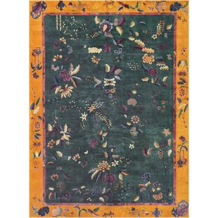 One-of-a-Kind Antique Chinese Handwoven Wool Green Indoor Area Rug by Mansour