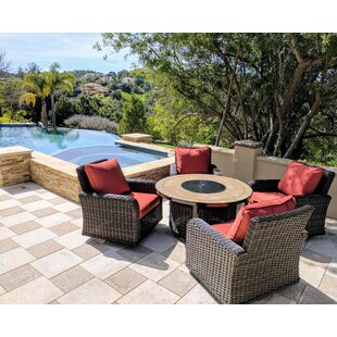 Vlad Propane Gas 5 Piece Rattan Sunbrella with Cushions by Darby Home Co
