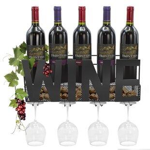 Fleur De Lis Living Nazareth Stemware Glass Rack Cork Holder 5 Bottle Wall Mounted Wine Bottle Rack/Wine Glass Rack
