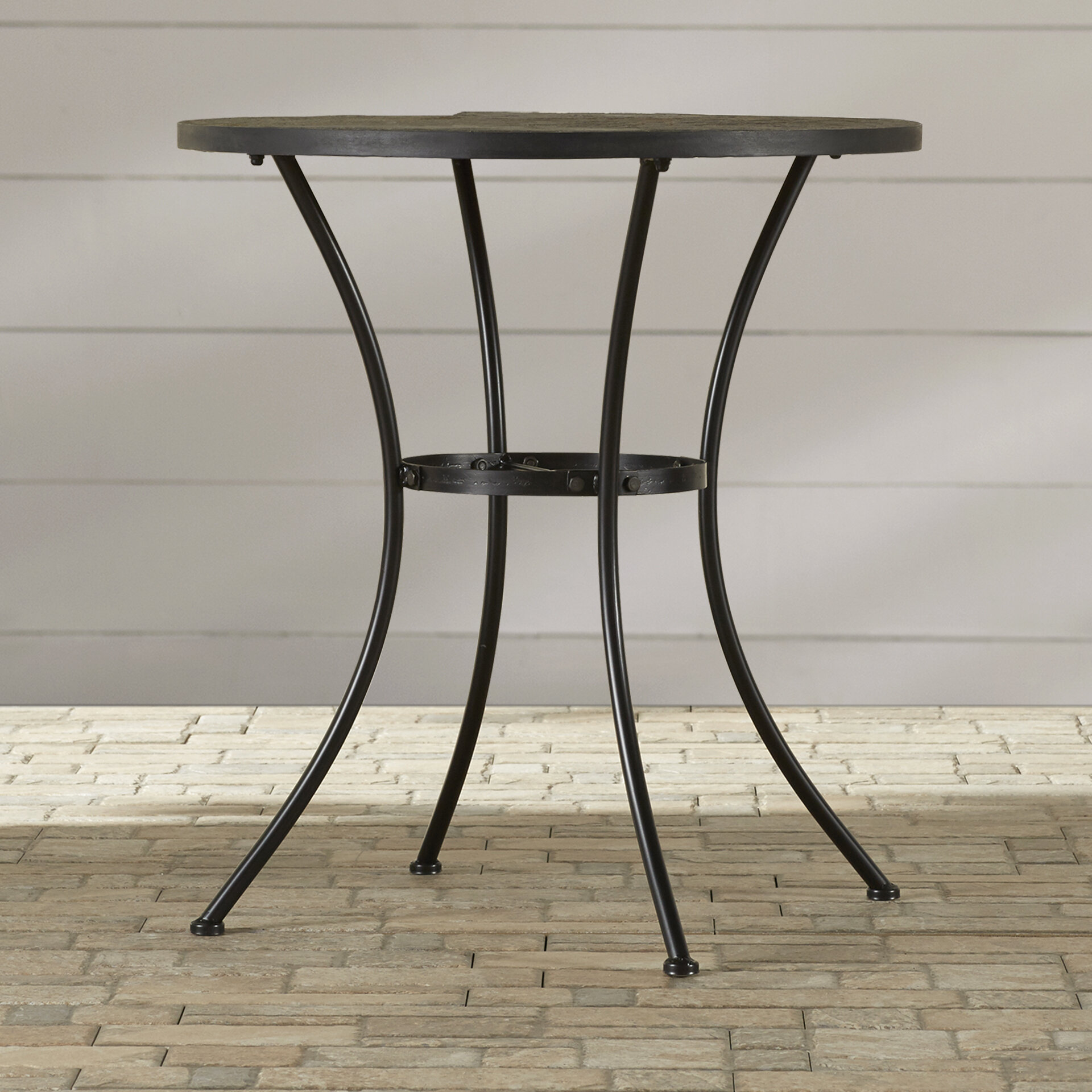 Alcott Hill Barker Ridge Round Bistro Table With Slate Top Reviews Wayfair