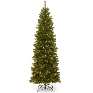 North Valley Pencil Slim 7' Green Spruce Artificial Christmas Tree with 350 Clear Lights with Stand