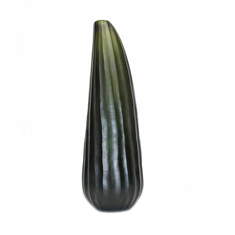 Orren Ellis Barcelone Green 13 5 Glass Table Vase Wayfair