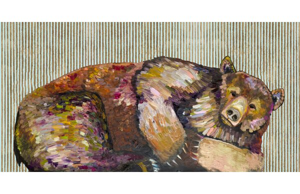 Greenbox Art Grizzly Bear Dreams With Gold Stripes Wrapped Canvas Print Wayfair
