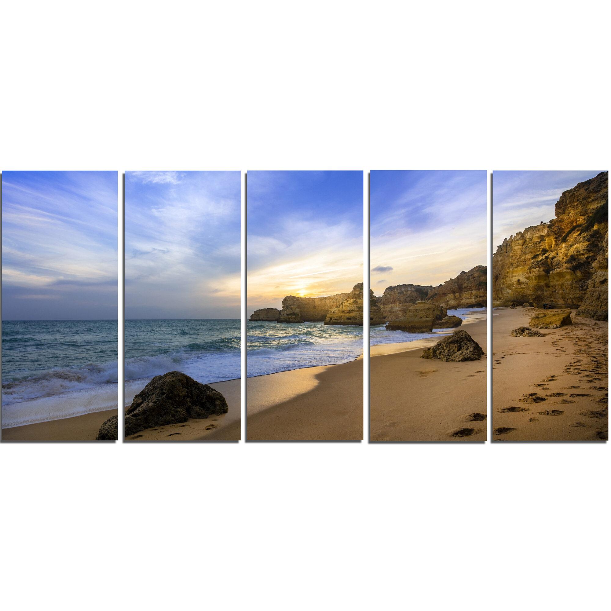 Designart Beautiful Sunset Over Algarve Portugal 5 Piece Wall Art On Wrapped Canvas Set Wayfair