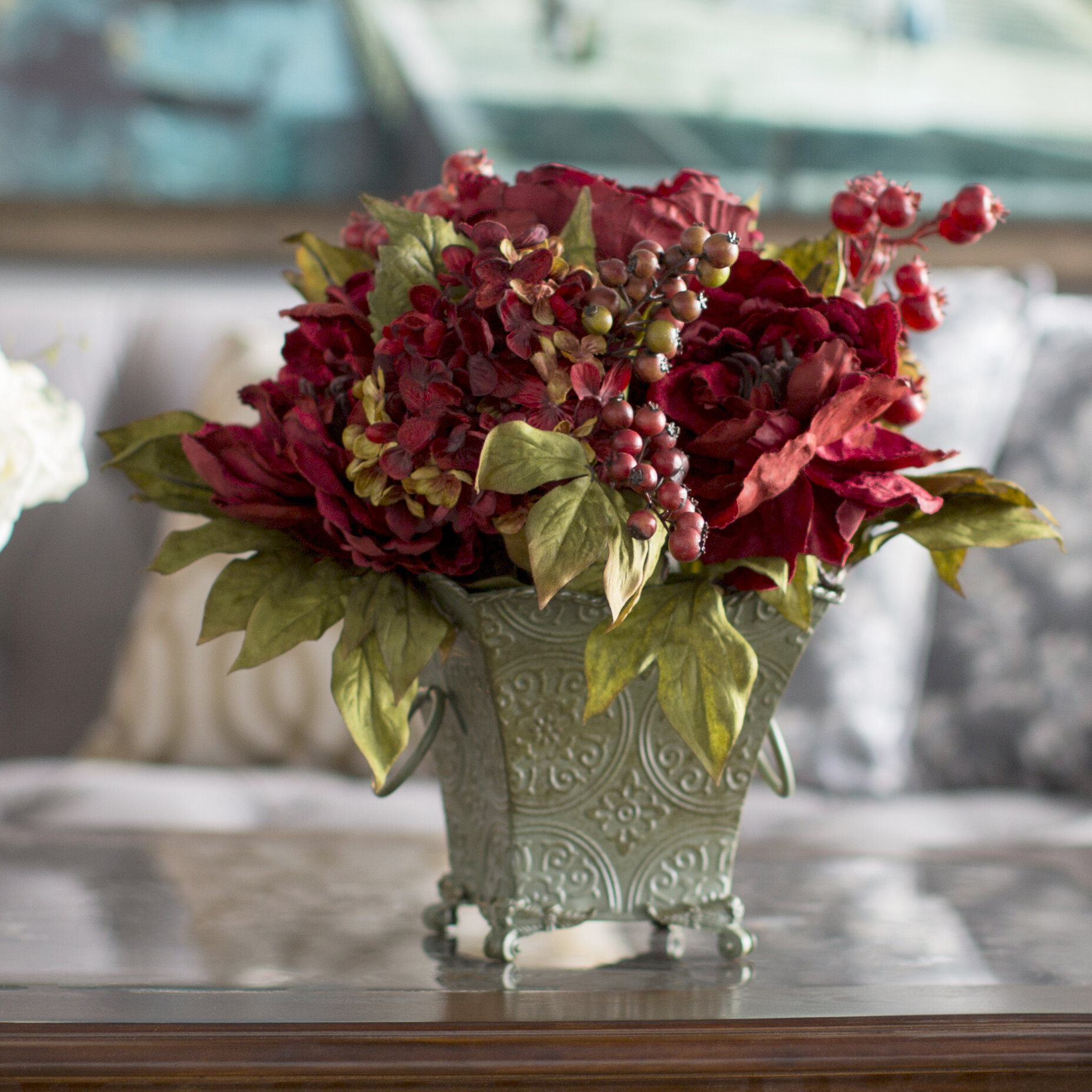 Astoria grand peony and hydrangea silk flower arrangement in rustic astoria grand peony and hydrangea silk flower arrangement in rustic green bucket reviews wayfair mightylinksfo