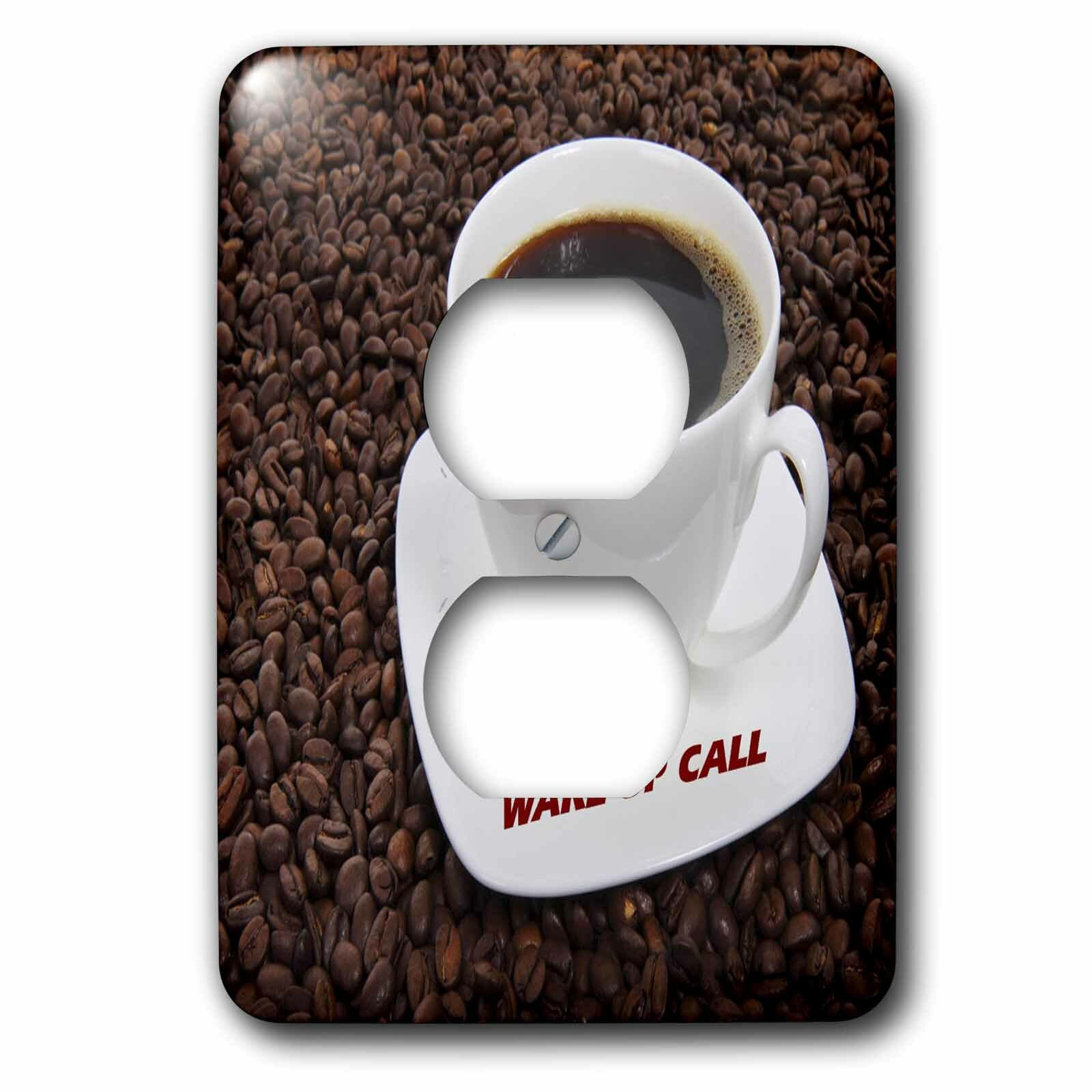 3drose Wake Up Call On Coffee Cup N Beans 1 Gang Duplex Outlet Wall Plate Wayfair