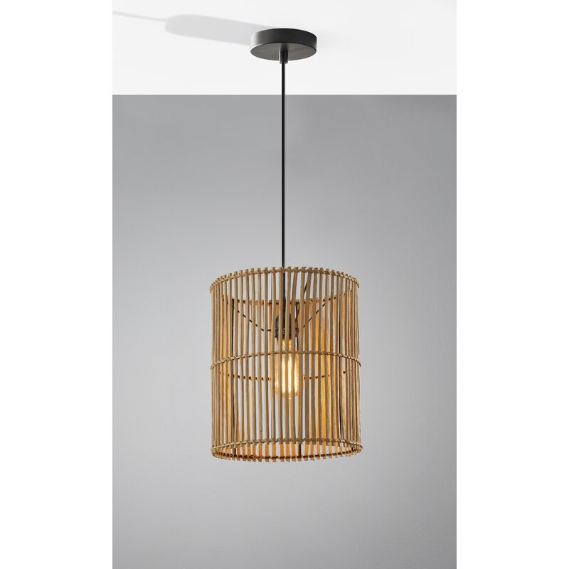Bay Isle Home Alessio 1 Light Single Drum Pendant With Wood Accents Reviews Wayfair