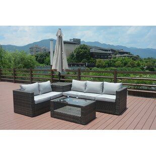 Jazmine 4 Piece Rattan Sofa Set with Cushions by Orren Ellis