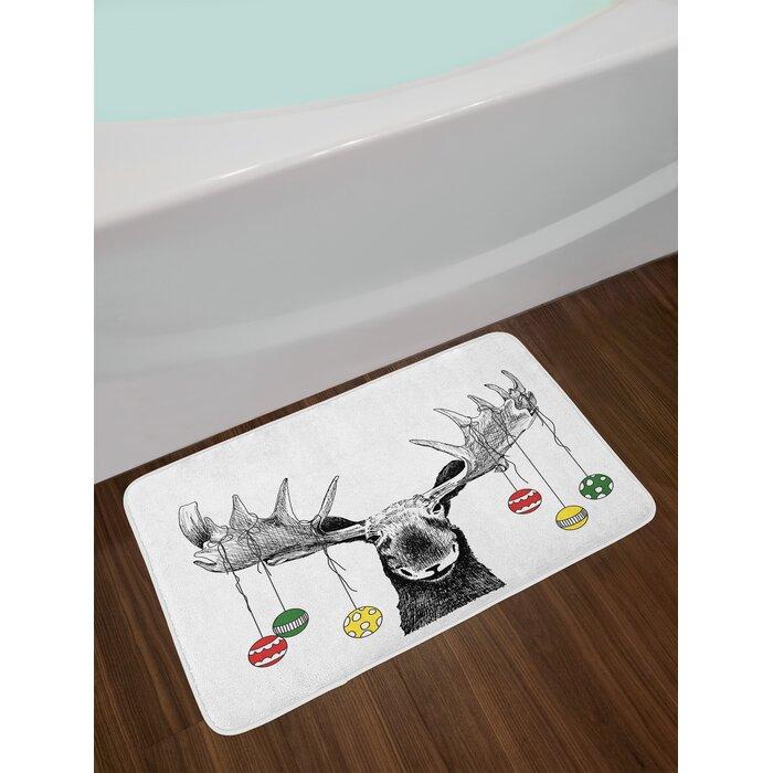 Moose Christmas with Xmas Ornaments Bath Rug