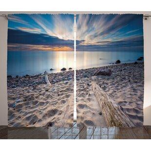 Bowker Driftwood Graphic Print and Text Semi-Sheer Rod Pocket Curtain Panels (Set of 2) by Latitude Run