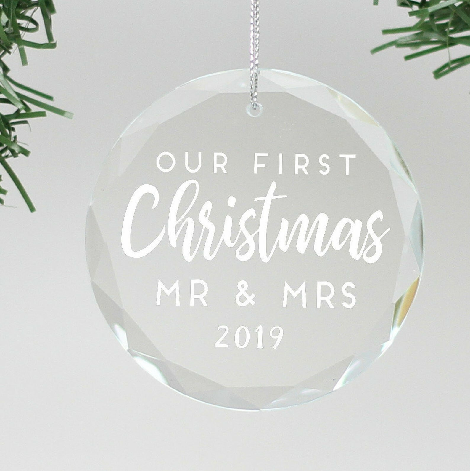 Engraved Glass Holiday Shaped Ornament