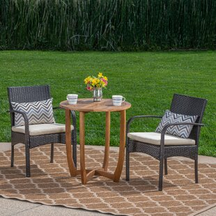 Ebern Designs Villareal Outdoor 3 Piece Bistro Set with Cushions