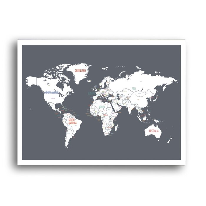 World Pushpin Travel Map Graphic Art Poster