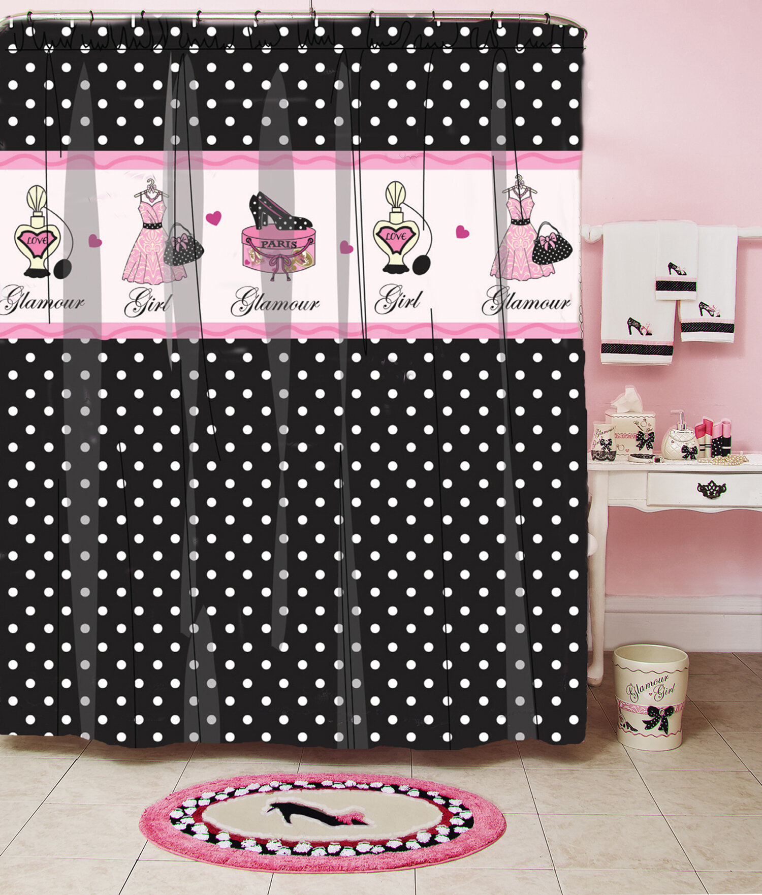 Homewear Linens Glamour Polka Dot Shower Curtain Reviews