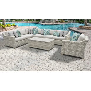 Fairmont 8 Piece Outdoor Sectional Seating Group Set with Cushions by TK Classics