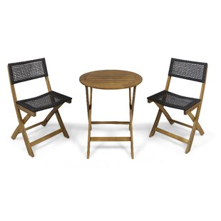 Mcclaskey Outdoor Wicker Foldable 3 Piece Bistro Set