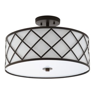 Reviews Wachter 3-Light Semi Flush Mount By House of Hampton