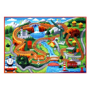 Hit Thomas Polyester Orange/Green Kids Rug by Thomas & Friends