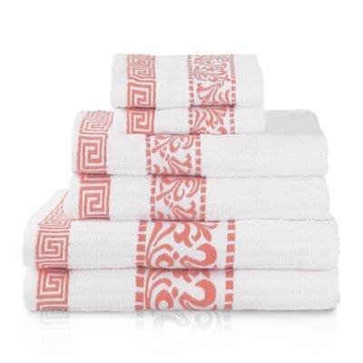 House of Hampton Smithton 6 Piece 100% Cotton Towel Set Color: Coral
