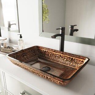 Glass Rectangular Vessel Bathroom Sink with Faucet