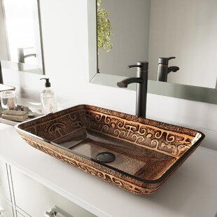Golden Greek Glass Rectangular Vessel Bathroom Sink VIGO