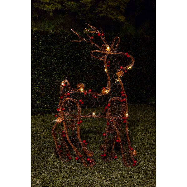 christmas rattan light up reindeer lighted display reviews birch lane - Lighted Animals Christmas Decoration