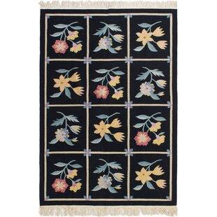Compare & Buy One-of-a-Kind Goettingen Handwoven Flatweave 4'1 x 6'1 Wool Black/Blue Area Rug ByAugust Grove