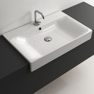 WS Bath Collections Cento Ceramic Ceramic Rectangular Vessel Bathroom Sink with Overflow