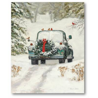 Old Truck With Christmas Tree Painting.Plow Hearth Lighted Christmas Truck Photographic Print On