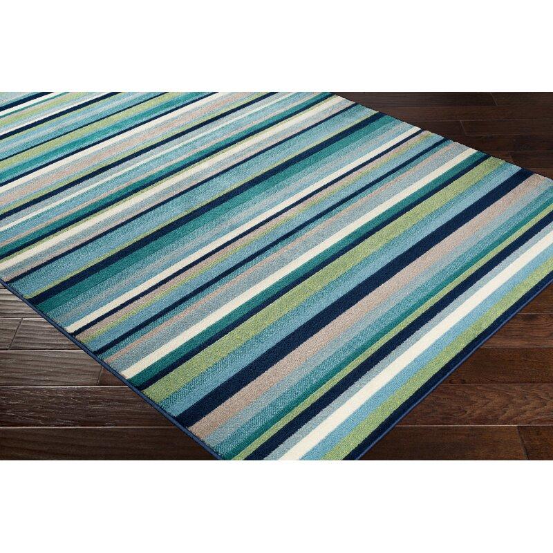 Eley Striped Teal Gr Green Area Rug