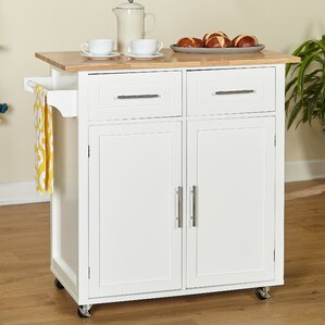 Larocca Kitchen Cart with Wood Top by Alcott Hill