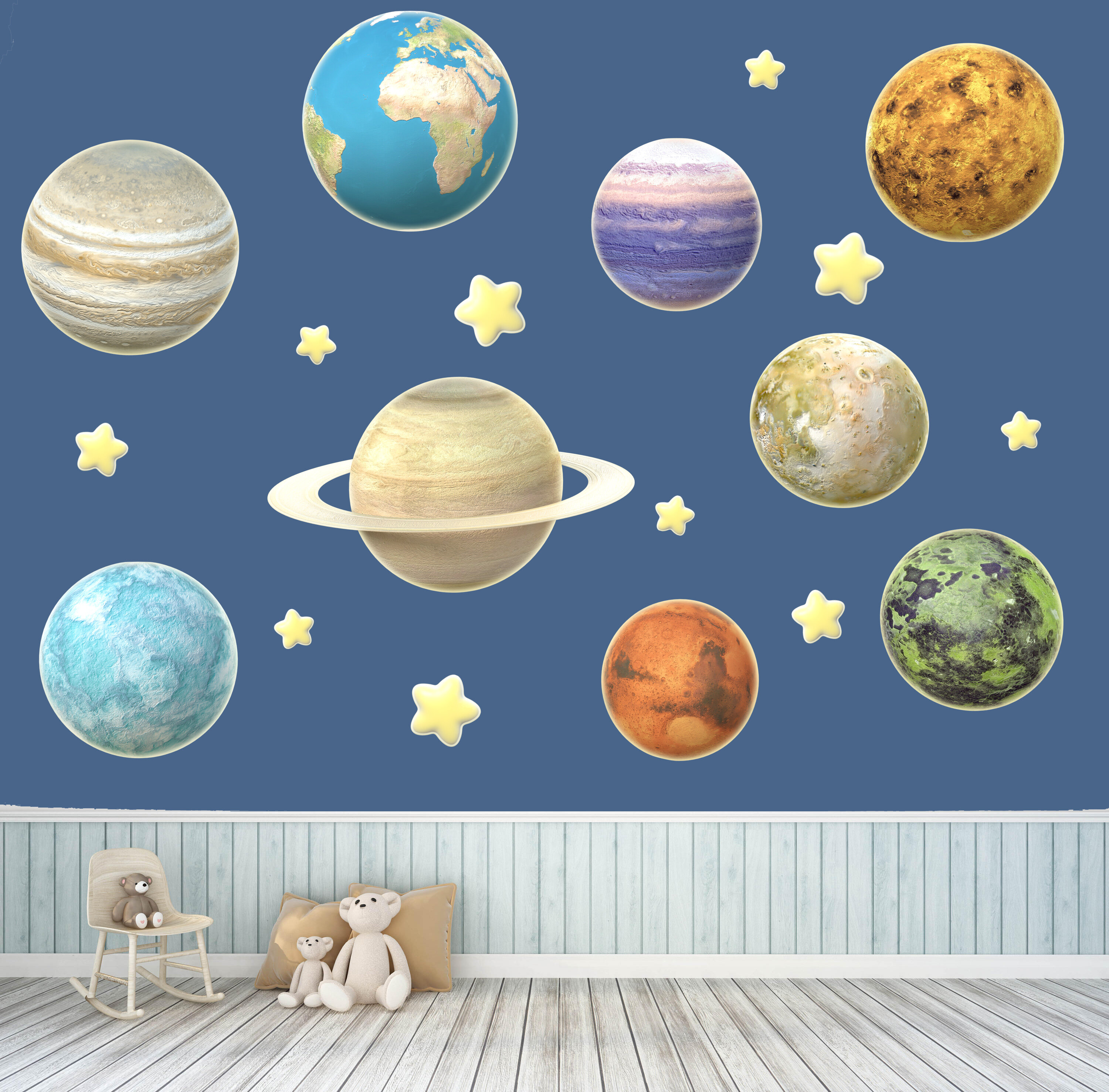 Zoomie Kids Planets With Stars Wall Decal Wayfair