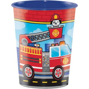 Fire Truck Plastic Disposable Cup (Set of 8)