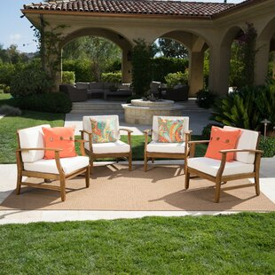 Mistana Drage Modern Outdoor Wood Patio Chair with Cushions (Set of 4)