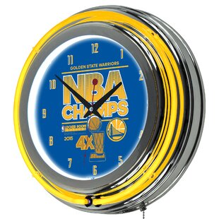 NBA Golden State Warriors 2015 Champions 14.5 Double Ring Neon Wall Clock by Trademark Global