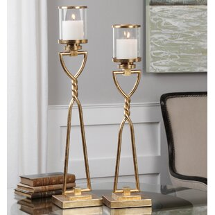 2 Piece Iron Candlestick Set